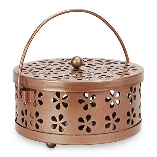 Mosquito Coil Holder | Metal Incense Burner | Portable Bug & Insect Repellent | Home & Garden Fragrance & Aromatherapy | Includes Lid and Handle | M&W (Rose Gold)