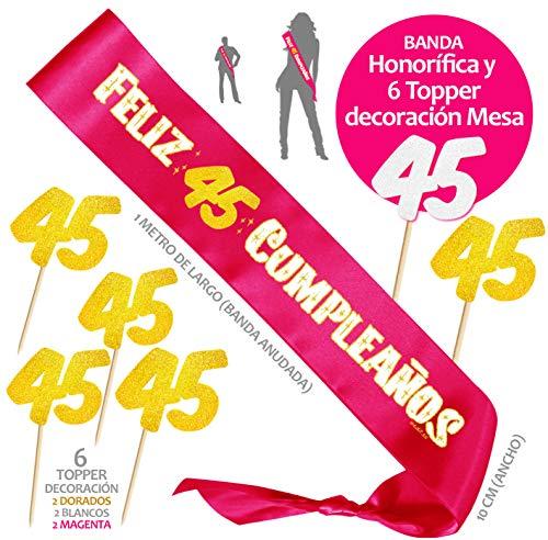 Inedit Festa - Banda 45 Años Cumpleaños Banda Honorífica Feliz 45 Cumpleaños y 6 Topper. 1974 Cumpleaños