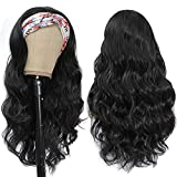Headband Wigs for Black Women - Synthetic Headband Wig Glueless Half Wig 180% Density Wigs with Headbands Attached Natural for Daily Use (20 Inch body wave, 6-3027)