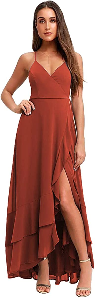 PAVERJER Women's Spaghetti Strap A Line Prom Dresses Long Ruffle High Low Party Maxi Dress with Slit