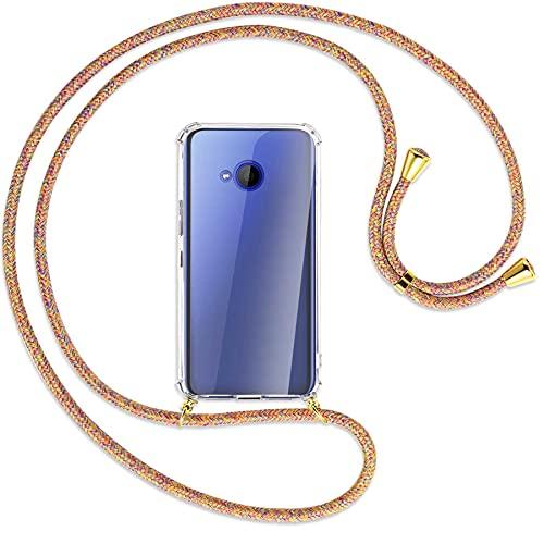 mtb more energy® Handykette kompatibel mit HTC U11 Life (5.2'') - Rainbow/Gold - Smartphone Hülle zum Umhängen - Anti Shock Full TPU Hülle