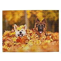 落ち葉 二匹の犬 500ピース ジグソーパズル ピクチュアパズル 木製の風景パズル、人物 動物 風景 漫画絵のパズル 大人の子供のおもちゃ家の装飾風景パズル Puzzle 52.2x38.5cm