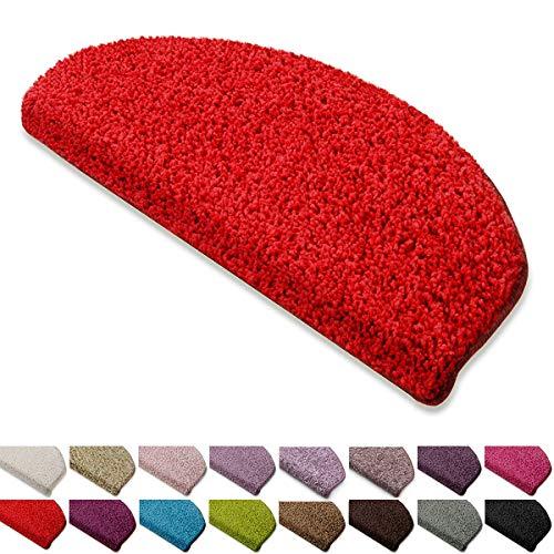 casa pura Shaggy Stufenmatten Barcelona Schutz für Treppenstufen | weicher Hochflor | GUT-Siegel und Blauer Engel | halbrund | Einzeln oder als Set | viele Farben | 1 Stück | Rot