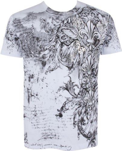 Sakkas TG327T Vignes et Fleur de Lys en Relief Argent métallique Manches Courtes Col Rond Coton T-Shirt Fashion Homme - Blanc/Grand