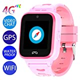 Vowor Kids Smart Watch, 4G WiFi GPS LBS Tracker SOS Emergency Call Video Chat Children Smartwatches, IP67 Waterproof Phone Watch for Boys Girls, Compatible with Android\/iPhone iOS (Pink, V-01)