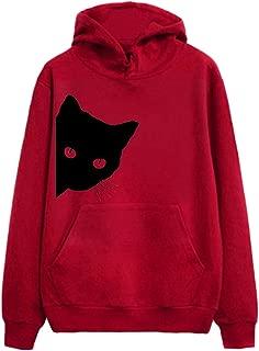Cat Print Hoodie for Womens Long Sleeve Sweatshirt Hooded Pullover Tops Blouse