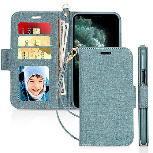 Skycase - Funda de Piel para iPhone 11 Pro 5.8, iPhone 11 Pro, con función Atril, Tarjetero, Interior de TPU y [protección RFID] para Apple iPhone 11 Pro 5.8 Pulgadas 2019