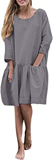 Sunmoot Casual Loose Pleated Cotton Linen Midi Dress,Summer 3/4 Sleeve Ruffle Swing Plain Simple Dresses with Pockets
