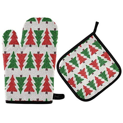 TropicalLife OOWOW - Juego de guantes y agarraderas para horno (forro de algodón, resistente al calor)