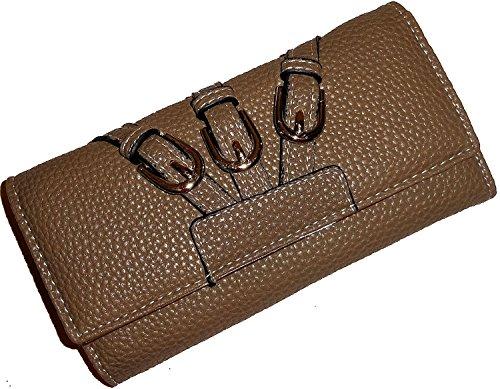Modische Geldbörse Brieftasche, Design: 3 SCHNALLEN, Farbe: SOIL