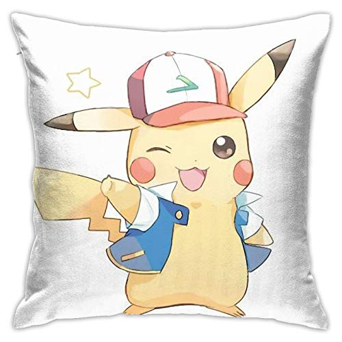Flax Throw Pillow Cover Cute Ash Pikachu 18x18 Inches Anime Throw Pillow Covers Exquisite Pillo Wcase with Invisible Zipper Pillowcase Home Decor