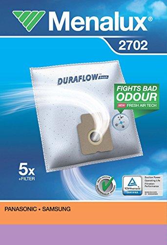 Menalux 2702 - Pack de 5 bolsas sintéticas y 1 filtro para aspiradoras Panasonic y Samsung