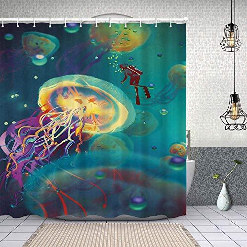 Duschvorhang,Riesige Qualle & Taucher im Meer Unterwasser-U-Boot Aquatic Artwork Print,Enthält 12 Duschvorhanghaken waschbar,Wasserdicht Bad Vorhang für Badezimmer Badewanne 180X180cm
