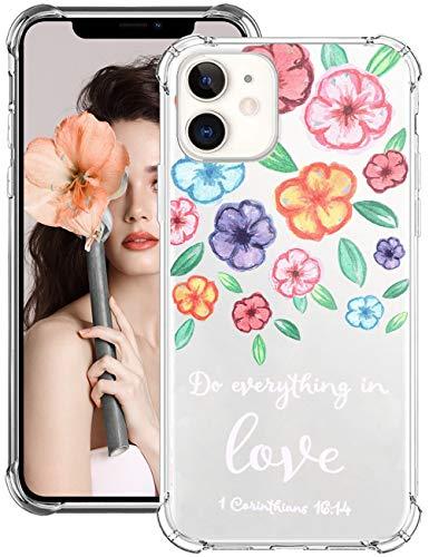 Funda para iPhone 12 Pro Max de silicona suave TPU transparente, con diseño de flores, ultrafina, evita colisiones, para iPhone 12 Pro Max 4 M