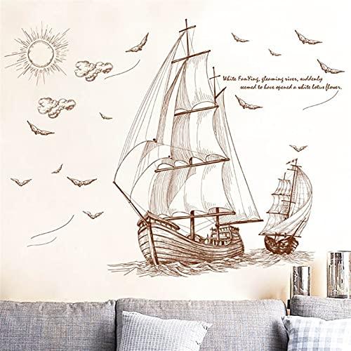 TYUTYU Pegatinas de Pared Navegación de Dibujos Animados Navegación para Habitaciones Boys Boys Vinyl PVC Decal DIY Art Decor Sky