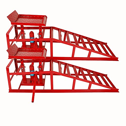 2 Pack Hydraulic Car Ramps 10000lbs 5T 11000lbs Low Profile Car Lift Service Ramps Truck Trailer Garage,Height Hydraulic Vehicle Ramps (Red)