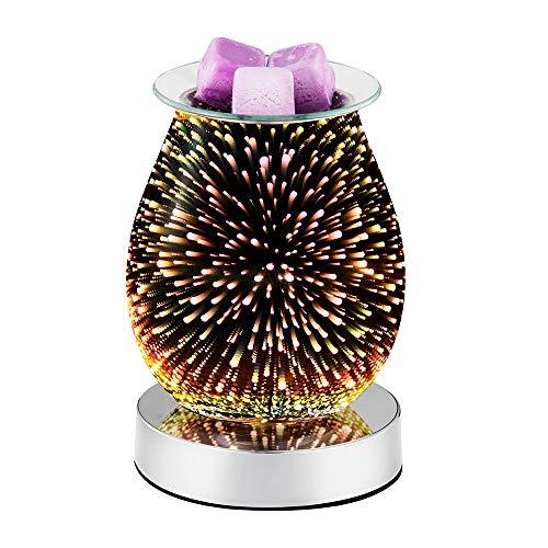 Dumcuw 3D Glasölbrenner, elektrischer Wachsschmelze Kerzenwärmer, Touch Control Duftlampen LED Nachtlicht für Geschenke Schlafzimmer Wohnzimmer Home Office
