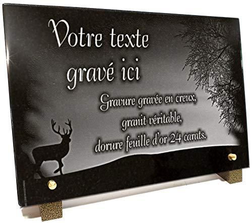 Plaque funéraire Chasseur Nature avec Cerf Arbre forêt en Granit gravé Personnalisable 30 x 20 x 2 cm