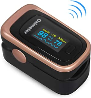 Finger Pulse Oximeter -Blood Oxygen Saturation - Athletic and Aviation Pulse Oximeters, Respiratory Rate, PI Sleep Monitor, Batteries and Lanyard (Sleep Monitor - Rose Gold + Black)