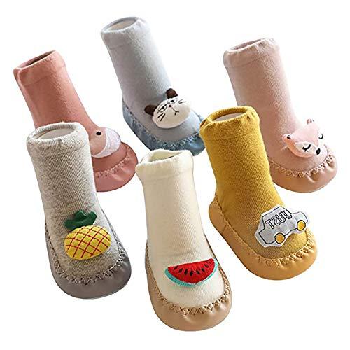 YUDIZWS Gemütliche warme Wintersocken, Baby Slipper Socken, 6 Paare Anti-Rutsch-Hausschuhe Socken für 0-24 Monate Jungen und Mädchen Baumwollsocken,6 Pairs,0 6 Months