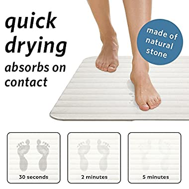 Microdry Drystone Absorbent Bath Mat Made with Real Stone for Super Fast Drying, Lightweight and Shock Resistant 18 x 23, White