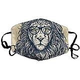 Maschere per la bocca unisex Premium Hipster Lion con occhiali Maschera per motocicletta in poliestere antipolvere anti inquinamento riutilizzabile