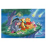 Cute Doormat Winnie The Pooh Glitter Stars Wood Jigsaw Puzzles 1000 Pieces for Adults Kids,Every Piece is Made of Basswood,Technology Means Pieces Fit Together Perfectly