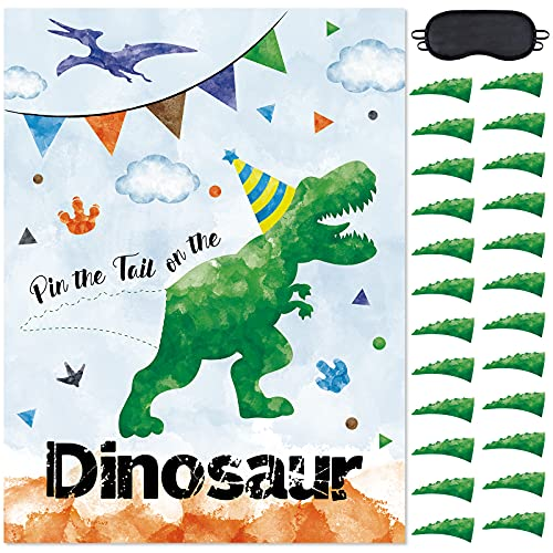 Pin The Tail on The Dinosaur Party Game - 20'' x 29'' Dinosaur Party Games for Kids Boys with 24 PCs Tails Watercolor Dino Birthday Party Supplies for Wall Home Room Decorations