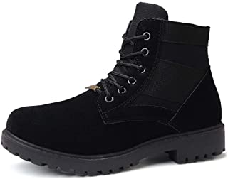 Sunny&Baby Ankle Boots for Men Snow Work Shoes Pull on Suede & PU Leather Patchwork Rubber Sole Round Toe Stitching Non-Slip Cushioned Durable (Color : Black, Size : 6 UK)