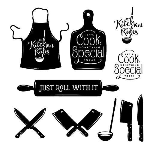 KBIASD Vinilo cuchillo de mesa cuchara de sopa delantal pega