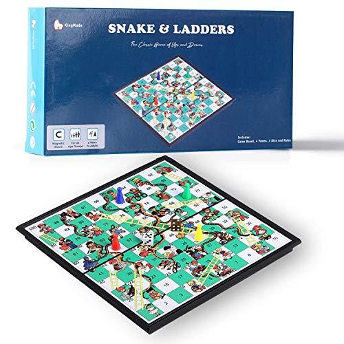 KingMade Juego de escaleras y Serpientes magnéticas Mart NS: Juego de Mesa...