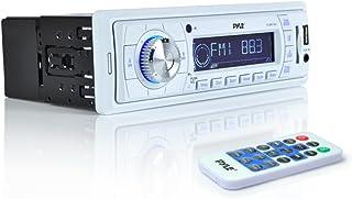 Pyle Stereo Marine Headunit Receiver - 12v Single DIN Style Digital Boat In dash Radio System w/ MP3 USB SD, AUX, RCA, AM FM Radio, Weatherband - Remote Control, Power Wiring Harness - PLMR19W (White)