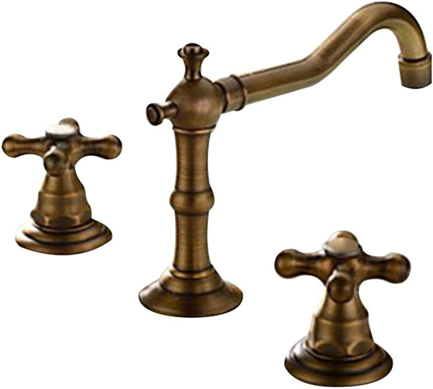 Joeyhome Antique Bronze Bathroom Wall Mounted Hot and Cold Faucets Basin Mixer Double Handle Bathroom 3 Hole Sink Mixer Taps EL7807