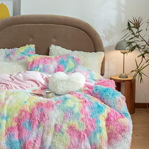 Tisi Hug and Snug Duvet Set Polyester Super Soft Warm and Cozy Fluffy Fur Fleece Double Bed Size, Hug & Snug Mink 200 * 230 (Rainbow)