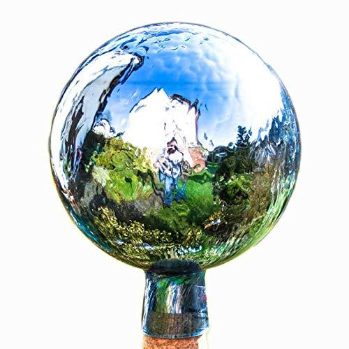 Lauschaer Glaskunst-Gartendeko Thüringer Rosenkugel - 15 cm - Aquamarin Craquelet