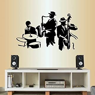 Wall Vinyl Decal Home Decor Art Sticker Jazz Band Saxophone Double Bass Drums Musicians Music Instruments Bedroom Living Room Removable Stylish Mural Unique Design 2379