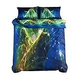 Ammybeddings 4PCs Green Galaxy Comforter Cover Set King Size Starry Sky Duvet Cover Set for Kids Luxury Home Decor Bedding 1 Flat Sheet 1 Duvet Cover 2 Pillow Shams(No Comforter No Fitted Sheet)