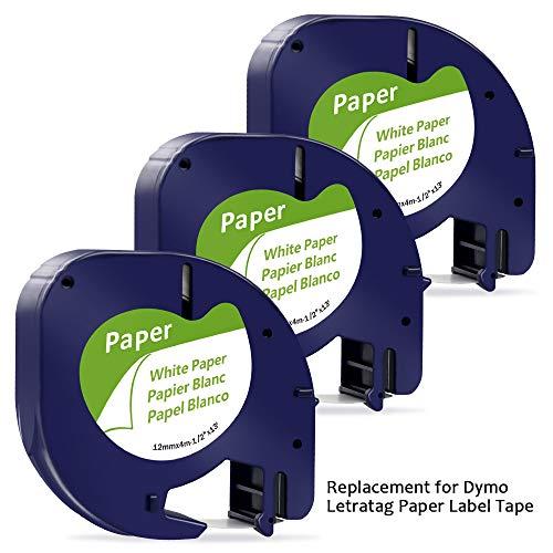 MarkFieldkompatible band als Ersatz für Dymo Letratag Papier Etikettenband schwarz auf weiß 12mm x 4m, für Dymo LT-100H LT-100T XR (Dymo Letratag Paper Tape black on white 91200/S0721510)