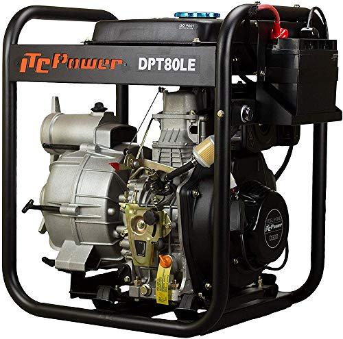 ITC Power IT-DPT80LE - Motobomba Diésel (3.600 RPM, capacidad de combustible 14 L)