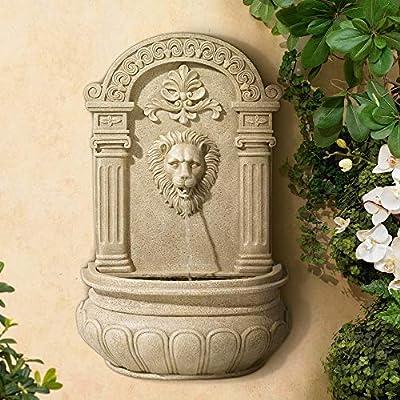 "John Timberland Lion Face Roman Outdoor Wall Water Fountain 31"" High for Yard Garden Patio Deck Home Entryway"