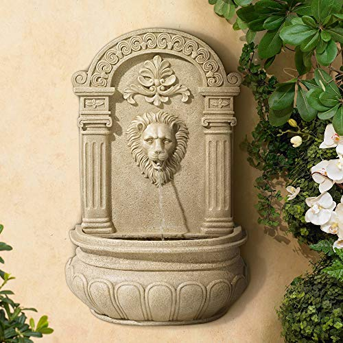 John Timberland Lion Face Roman Outdoor Wall Water Fountain 31' High for Yard Garden Patio Deck Home Entryway