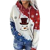 Zilosconcy Sudadera con Capucha para Mujer Navidad Costura Color Moda Hoodie Casual Estampada de Manga Larga Talla Grande Tops Chaqueta Suéter Abrigo Jersey Pullover