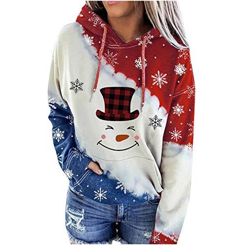 Moda Mujer Navidad Vino Tinto Copa Impresión Capucha Contraste Sudadera Top Primavera Otoño Invierno Tops Blusas