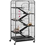 "YAHEETECH 52"" 6 Level Metal Critter Cage with 3 Front Doors/Feeder/Wheels Small Animal Cage Hutch for Ferret Bunny Indoor Outdoor,Black"