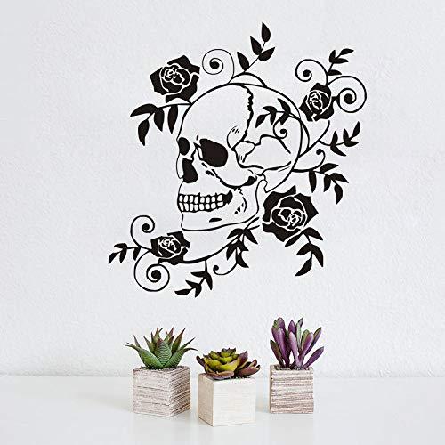 Creativo Dangerous Flowers Plants Roses Floración Art Skull Etiqueta de la pared DIY Vinilo Art Decal Boy Kids Dormitorio Sala de estar Estudio Decoración para el hogar Mural