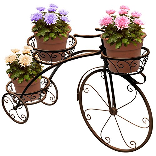 Sorbus Tricycle Plant Stand - Flower Pot Cart Holder - Ideal for Home, Garden, Patio - Great Gift...