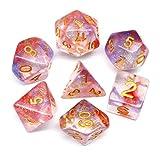 HD Dais - Juego de dados DND rojo púrpura para mazmorras y dragones (D&D) Pathfinder juegos de rol poliédricos y RPG dados transparentes con estrella que cambia de color