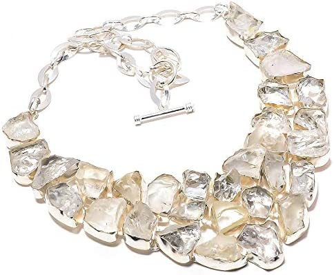 emartwala White Topaz Rough 925 Necklace National products Sterling Silver Manufacturer direct delivery Jewelry