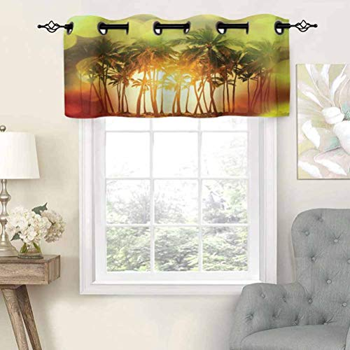 Hiiiman Insulated Thermal 100% Blackout Curtains Valance Mystical Illustration of Tropical Palm Coconut Trees in Gradient Colors Print, Set of 1, 36'x18' for Bedroom with Grommets
