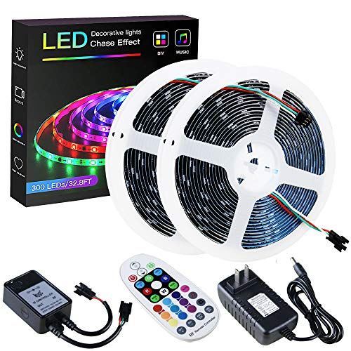 SPARKE RGBIC Led Strip Lights, 32.8ft/10m Dynamic Music-Sync LED Tape Light, 300 Pixels RGB 5050 WS2811B Waterproof Strip with RF Remote and Power Supply, Chasing Effect for Home Interior Parties